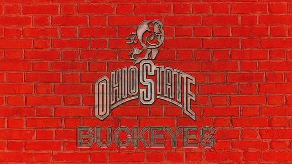 Wall Art - Digital Art - Ohio State Buckeyes Graphic Wall by Dan Sproul