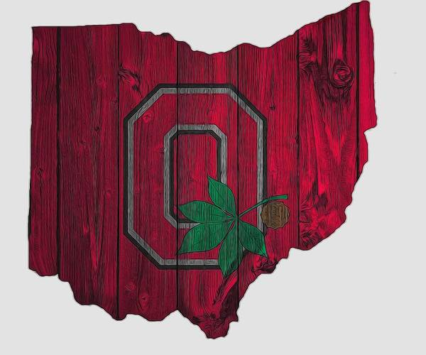 Scarlet Digital Art - Ohio State Buckeyes Map by Dan Sproul