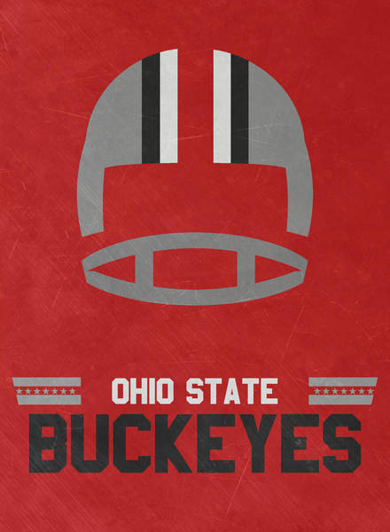 Galaxies Mixed Media - Ohio State Buckeyes Vintage Football Art by Joe Hamilton