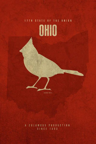 Cardinal Mixed Media - Ohio State Facts Minimalist Movie Poster Art by Design Turnpike