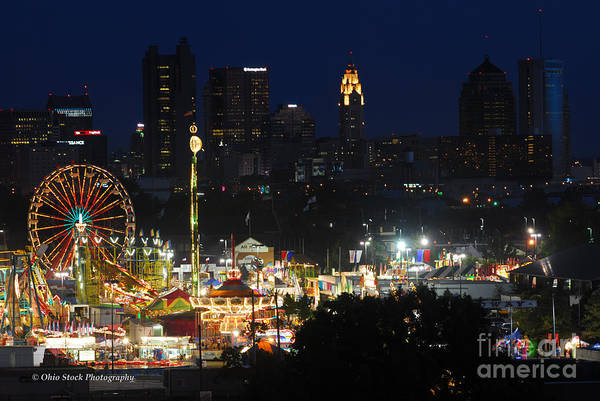 D3l-464 Ohio State Fair With Columbus Skyline Art Print