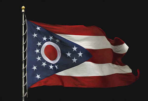Flying The Flag Wall Art - Photograph - Ohio State Flag by Steven Michael
