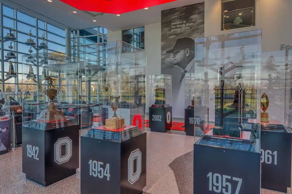Ohio State University Photograph - Ohio State Football National Championship Trophy Woody Hayes Mural by Scott McGuire