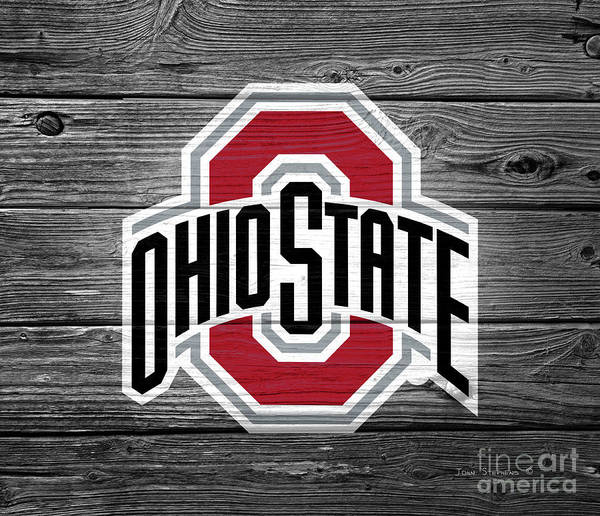 Wall Art - Photograph - Ohio State University Buckeyes Logo On Weathered Wood by John Stephens