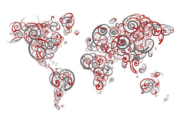 Osu Digital Art - Ohio State University Colors Swirl Map Of The World Atlas by Jurq Studio