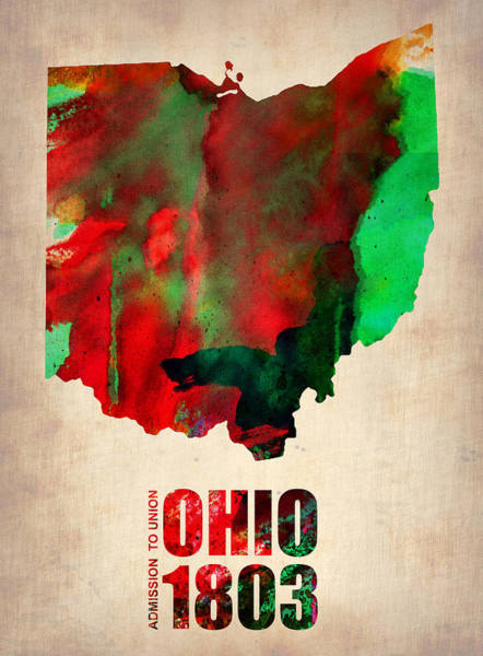 Wall Art - Painting - Ohio Watercolor Map by Naxart Studio