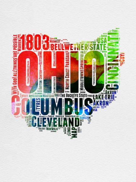 Wall Art - Digital Art - Ohio Watercolor Word Cloud Map  by Naxart Studio