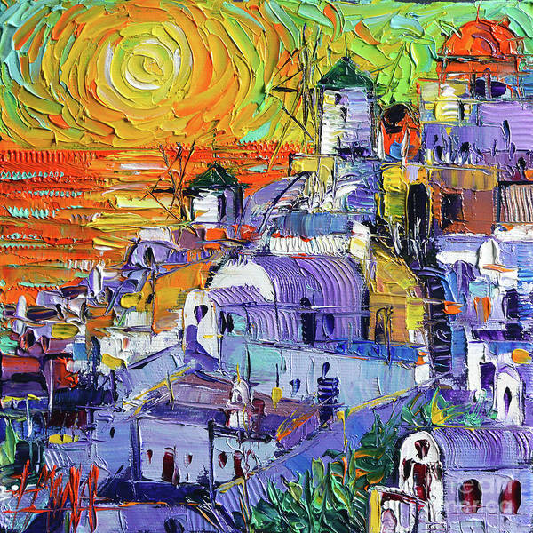 Wall Art - Painting - Oia Santorini Magic Light Mini Cityscape 09 - Modern Impressionist Palette Knife Oil Painting by Mona Edulesco