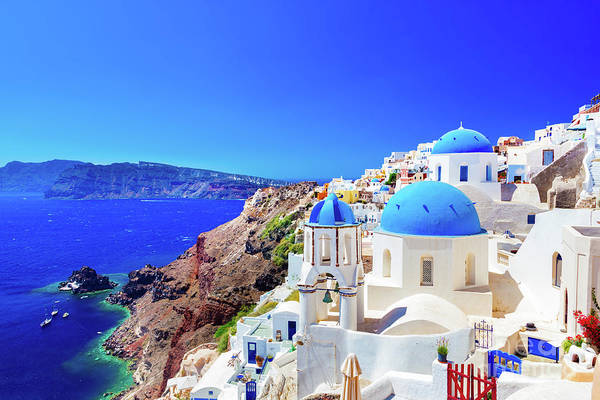 Aegean Sea Photograph - Oia Town On Santorini Island, Greece. Caldera On Aegean Sea. by Michal Bednarek