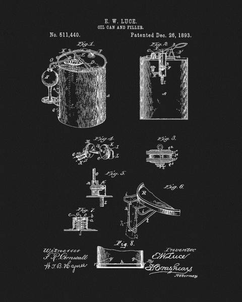 Petroleum Drawing - Oil Can Patent by Dan Sproul
