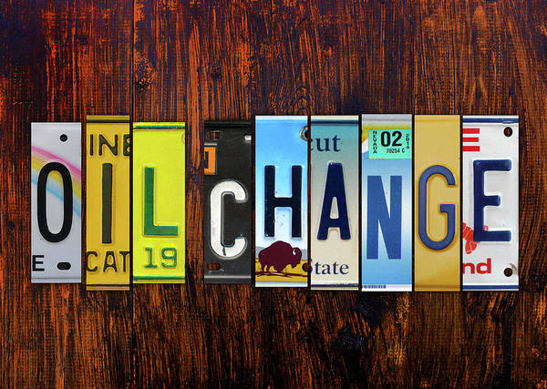 Change Mixed Media - Oil Change Lettering Sign License Plate Art by Design Turnpike