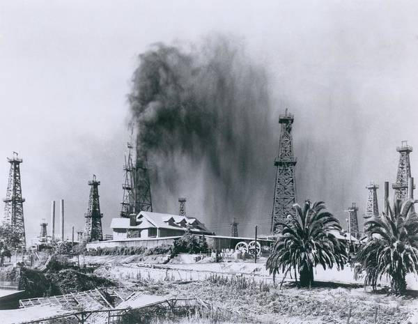 Fossil Fuel Photograph - Oil Gusher At Signal Hill In California by Everett