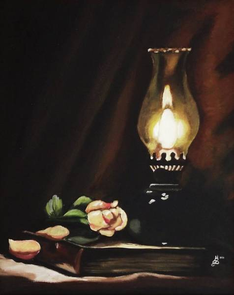 Wall Art - Painting - Oil Lamp Still Life by Kim Selig