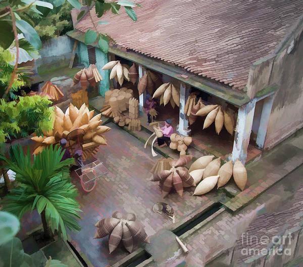 Famous People Digital Art - Vietnam Oil Paint Digital Basket Weaving  by Chuck Kuhn