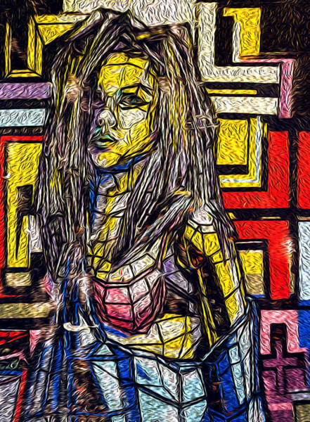 Photograph - Oil Painting Of Fragmented Girl In Multicolored Paint by John Williams