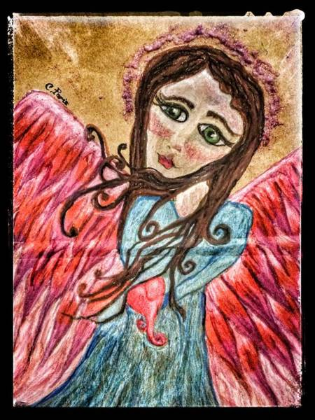 Painting - Oil Pastel Angel by Christine Paris