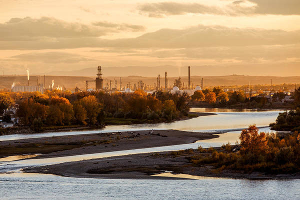 Photograph - Oil Refinery At Sunset by Todd Klassy