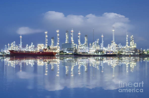 Petroleum Wall Art - Photograph - Oil Refinery Industry Plant by Setsiri Silapasuwanchai