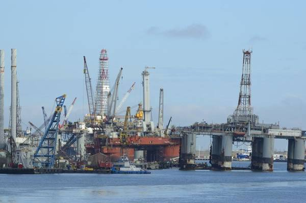 Photograph - Oil Rigs At Galveston Harbor by Bradford Martin