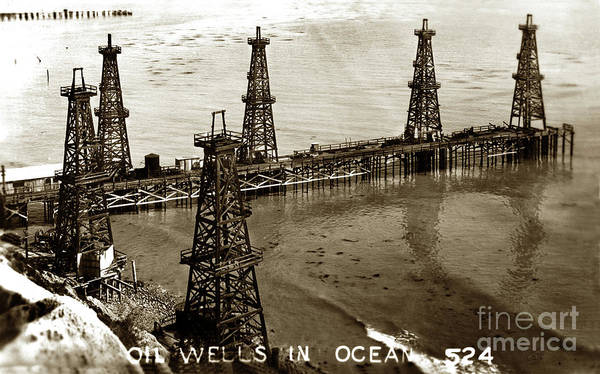 Photograph - Oil Well In Ocean At Summerland In Santa Barbara County by California Views Archives Mr Pat Hathaway Archives