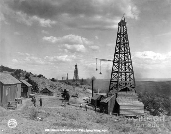 Turn Of The Century Wall Art - Photograph - Oil Well, Wyoming, C1910 by Granger