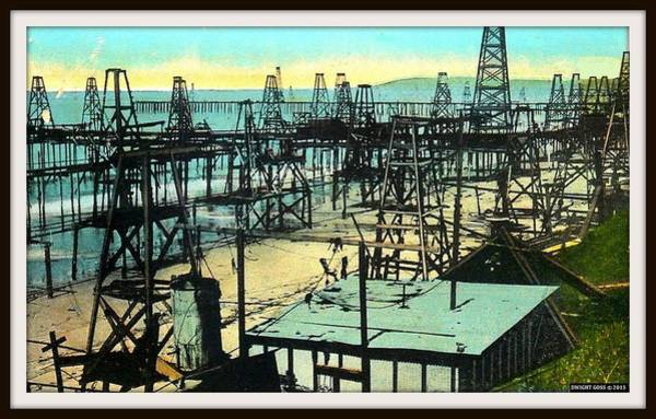 Oil Well Mixed Media - Oil Wells In The Sea At Summerland, Santa Barbara Ca, 1927 by Dwight GOSS
