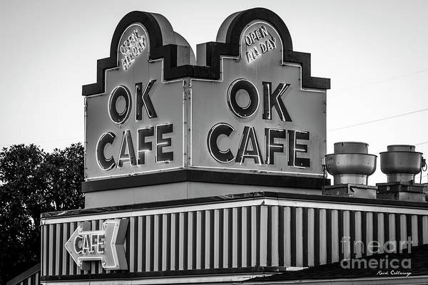 Wall Art - Photograph - Ok Cafe Neon 2 B W Atlanta Classic Landmark Restaurant Art by Reid Callaway