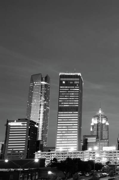 Photograph - Okc Downtown Skyline Vertical - Black And White by Gregory Ballos