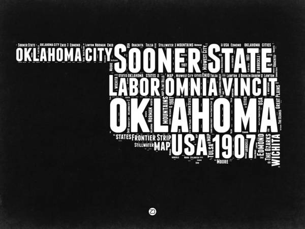 Wall Art - Digital Art - Oklahoma Black And White Map by Naxart Studio