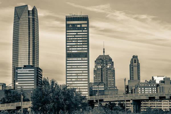 Photograph - Oklahoma City Downtown Skyline At Sunrise - Sepia by Gregory Ballos