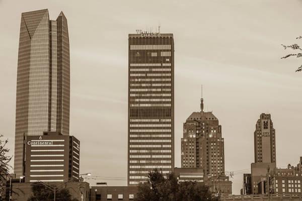 Photograph - Oklahoma City Okc Sepia Downtown City Skyline by Gregory Ballos