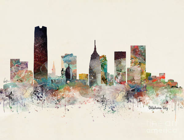 Watercolour Landscape Painting - Oklahoma City Skyline by Bri Buckley