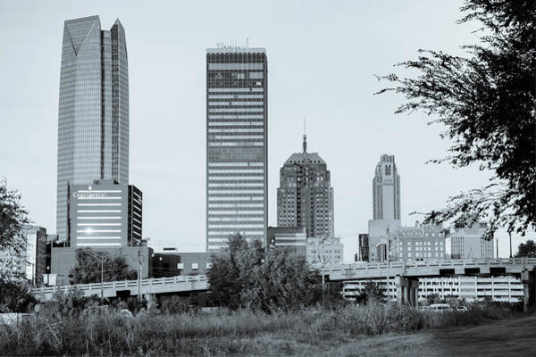 Photograph - Oklahoma City Skyline Morning - Black And White by Gregory Ballos