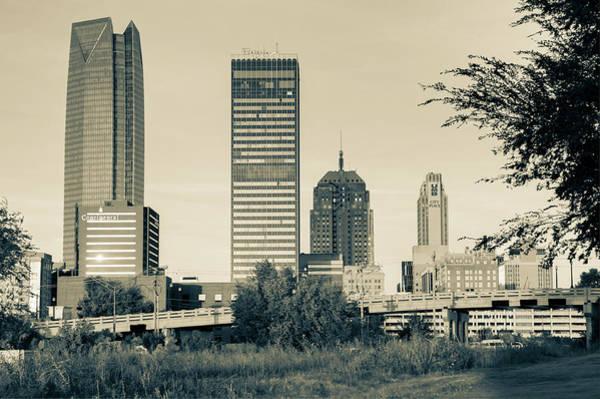 Photograph - Oklahoma City Skyline Morning - Sepia by Gregory Ballos