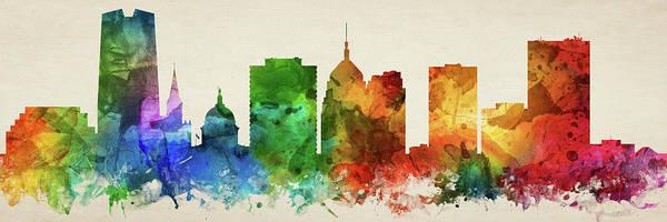 Wall Art - Digital Art - Oklahoma City Skyline Panorama Usokoc-pa03 by Aged Pixel