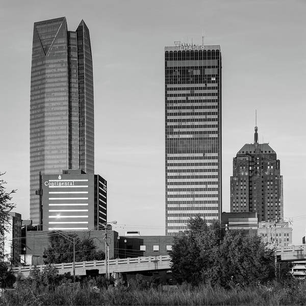 Photograph - Oklahoma City Skyline Square Black And White by Gregory Ballos