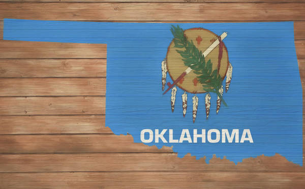 Mixed Media - Oklahoma Rustic Map On Wood by Dan Sproul