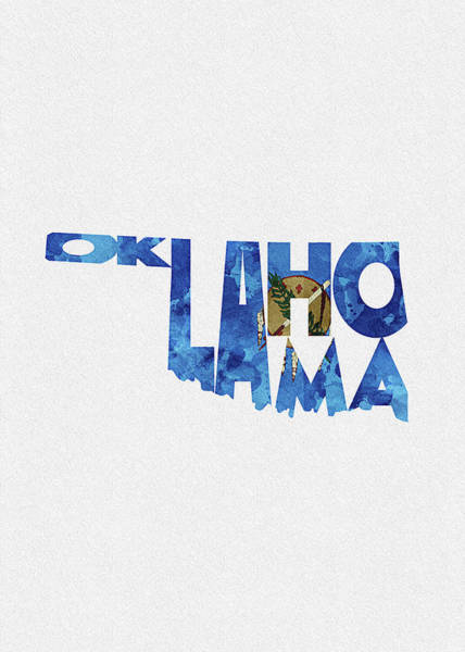 Tulsa Digital Art - Oklahoma Typographic Map Flag by Inspirowl Design