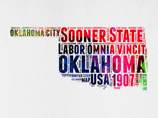 Map Art Mixed Media - Oklahoma Watercolor Word Cloud  by Naxart Studio