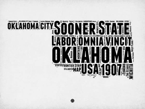 Map Mixed Media - Oklahoma Word Cloud 2 by Naxart Studio