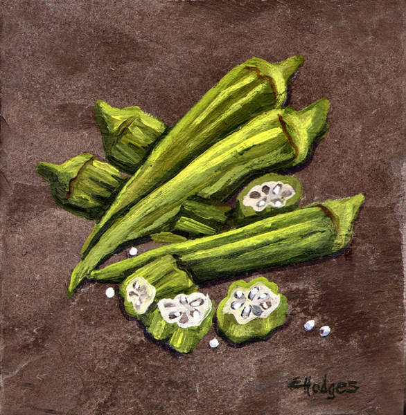 Slate Painting - Okra by Elaine Hodges