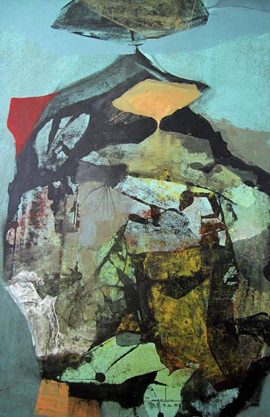 Abstractionism Painting - Ol1958ar001ba Abstract Landscape Of Potosi Bolivia 22.6 X 36.3 by Alfredo Da Silva