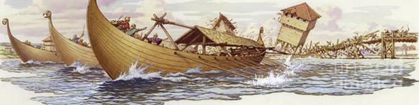 Norway Painting - Olaf Of Norway Pulls Down The Supports Of London Bridge by Pat Nicolle