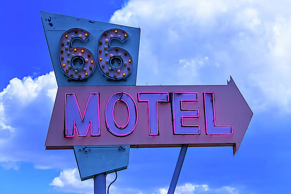 Wall Art - Photograph - Old 66 Motel Sign by Garry Gay