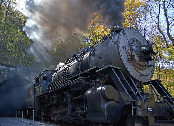 Steam Engine Photograph - Old 734 Locomotive Train On The Western Maryland Scenic Railroad by Brendan Reals