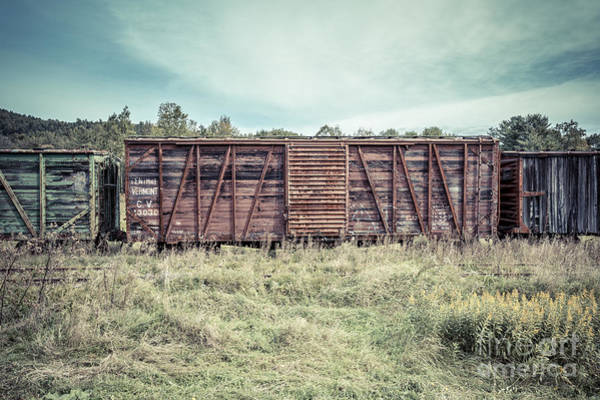 Box Car Photograph - Old Abandoned Box Cars Central Vermont by Edward Fielding