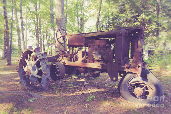 Farm Equipment Photograph - Old Abandoned Tractor In The Woods by Edward Fielding
