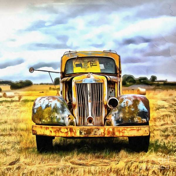 Painting - Old Abandoned Truck by Edward Fielding