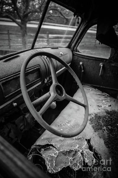 Photograph - Old Abandoned Truck Interior by Edward Fielding