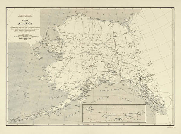 Wall Art - Drawing - Old Alaska Map By The Us Geological Survey - 1909 by Blue Monocle